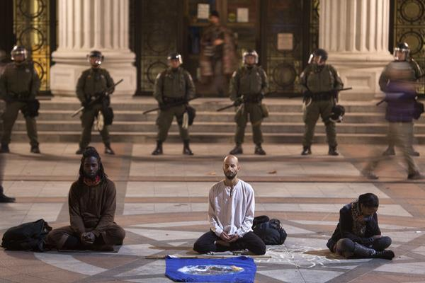 Pancho Ramos Stierle, center, at Occupy Oakland