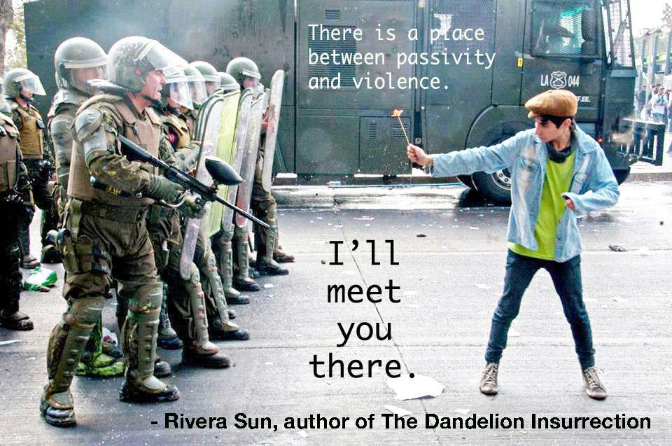"""There is a place between passivity and violence. I'll meet you there."" - Rivera Sun"