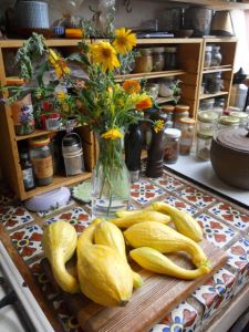 Squashes and flowers grown in the garden.