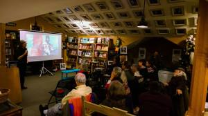 Rivera Sun presenting a film screening at Moby Dickens Bookshop