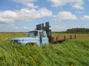 This blue flatbed truck is featured in a poem in Skylandia: Farm Poetry from Maine about Rivera's grandmother, DeLores.