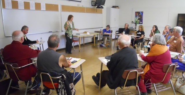 Talking about the Two Hands of Nonviolence in Oakland (w/ Fr. Louie Vitale in class! Wow! What an honor!)