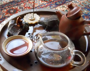 Puerh Tea, poured Gung-fu Style as part of my writing practice.