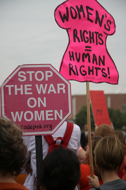Women's Rights = Human Rights! Stop the War on Women   National Day of Action to Defend Women's Rights. Rally at Dallas City Hall, July 15, 2013. by Steve Rainwater https://www.flickr.com/photos/steevithak/9296173105