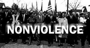 """Nonviolence"" by Democracy Chronicles. CC 2.0 See the article ""Martin Luther King Jr's Nonviolent Strategy"" for the original image on Democracy Chronicles. https://democracychronicles.com/nonviolent-strategy/"