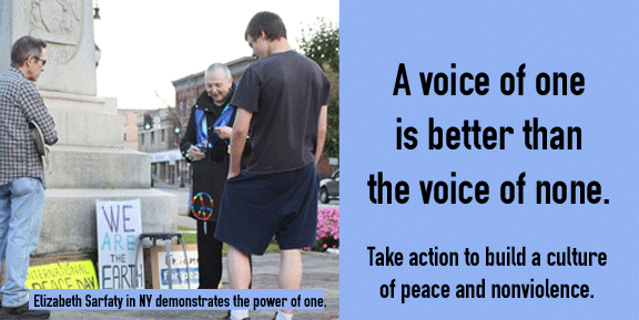 This photo comes from the Campaign Nonviolence Week of Actions in 2014, when a solo demonstrator engaged her community in profound discussions, one person at a time. This September 18-25th, be sure to join the Campaign Nonviolence Week of Actions!